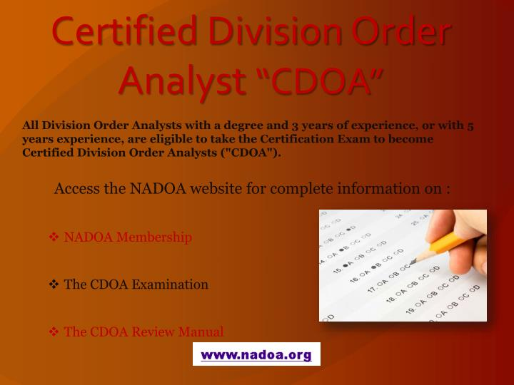 Certified Division Order Analyst