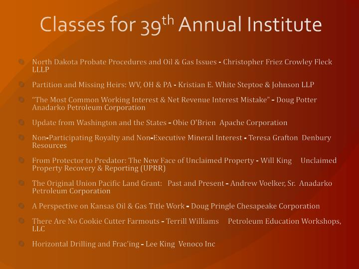 Classes for 39