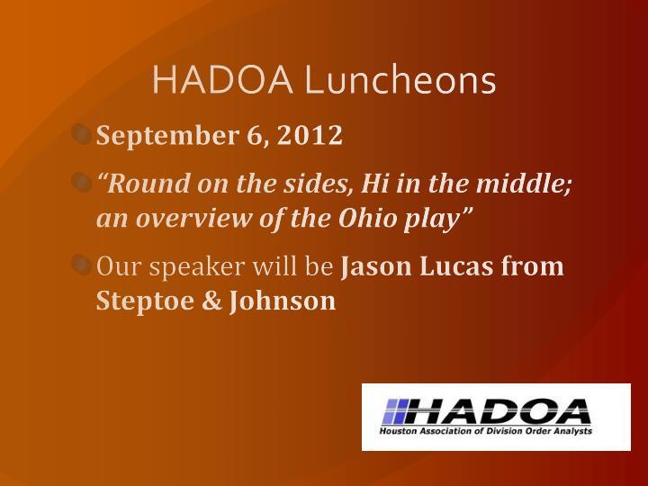 HADOA Luncheons