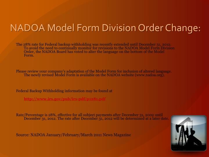 NADOA Model Form Division Order Change: