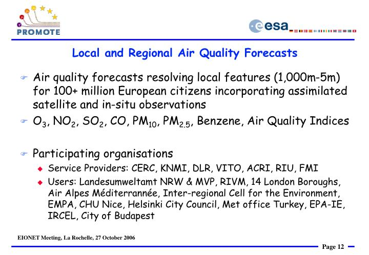 Local and Regional Air Quality Forecasts