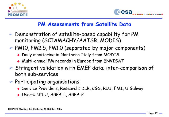 PM Assessments from Satellite Data