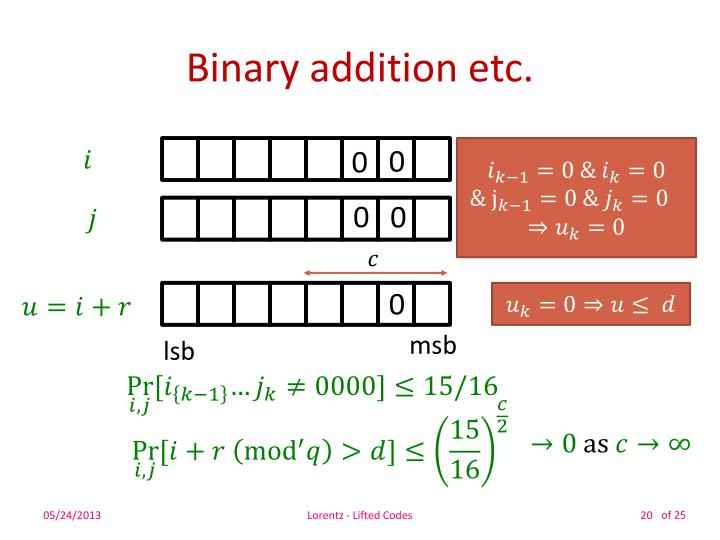 Binary addition etc.
