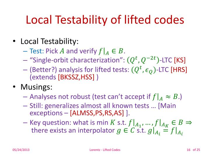 Local Testability of lifted codes