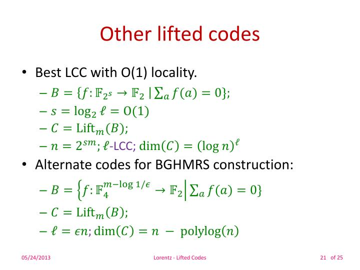 Other lifted codes