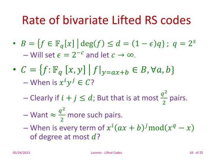 Rate of bivariate Lifted RS codes