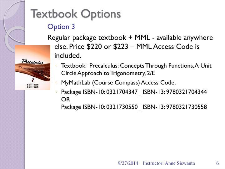 Textbook Options