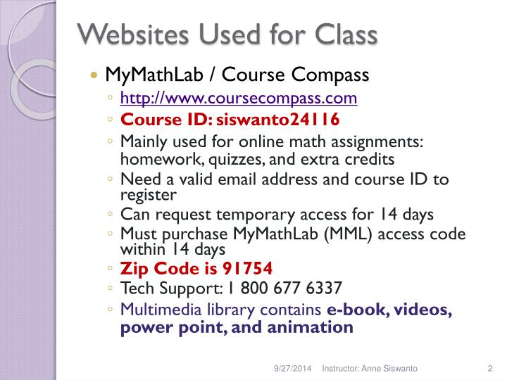 Websites used for class