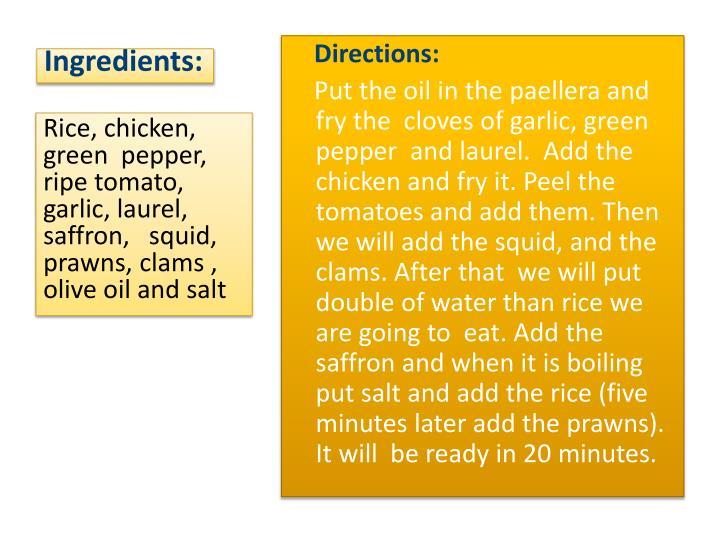Ingredients: