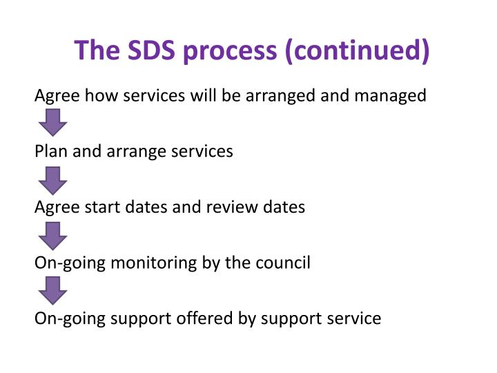 The SDS process (continued)