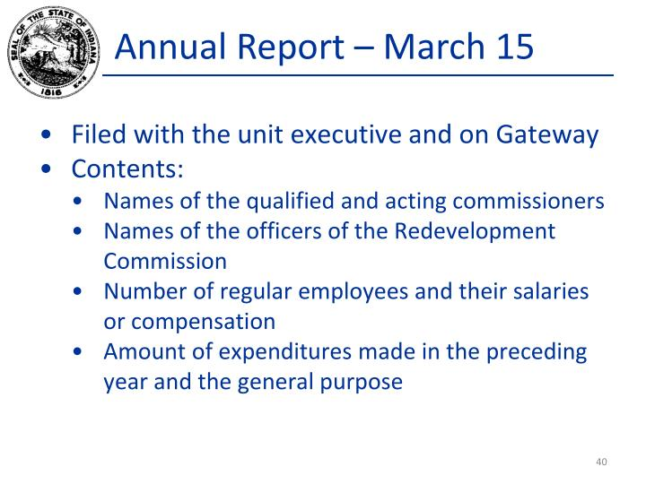 Annual Report – March 15