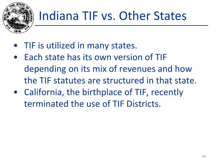 Indiana TIF vs. Other States