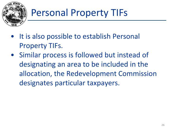 Personal Property TIFs