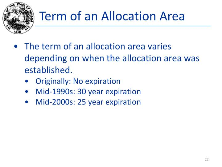 Term of an Allocation Area