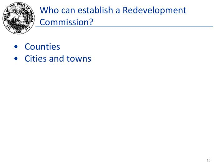 Who can establish a Redevelopment Commission?