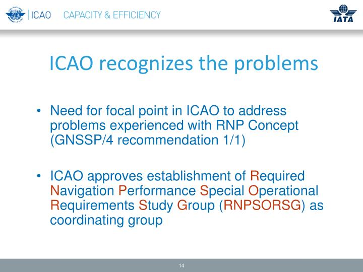ICAO recognizes the problems