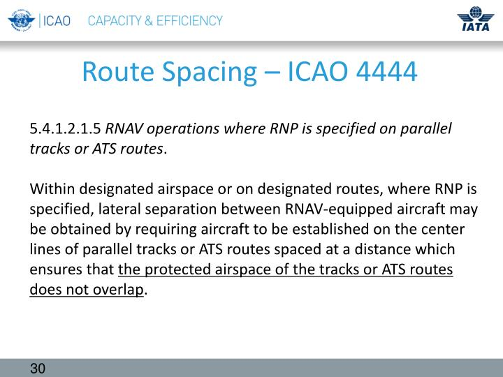 Route Spacing – ICAO 4444