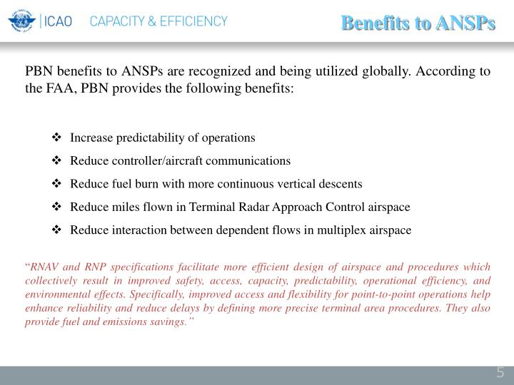 Benefits to ANSPs