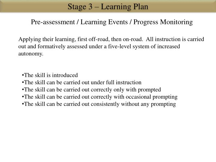Stage 3 – Learning Plan