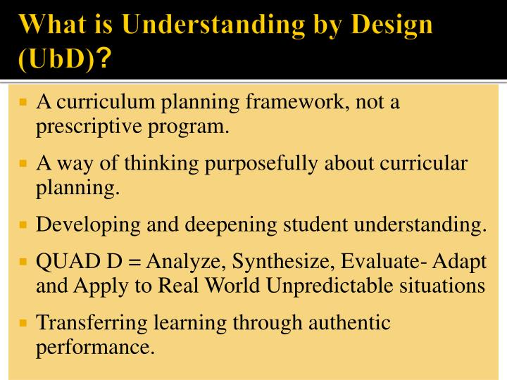 What is understanding by design ubd
