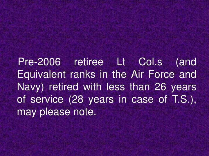 Pre-2006 retiree Lt Col.s (and Equivalent ranks in the Air Force and Navy) retired with less than...
