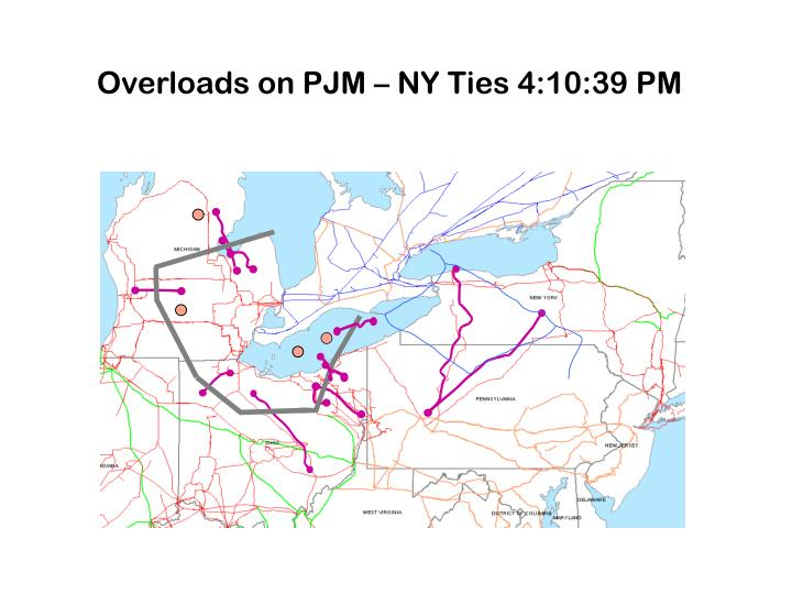 Overloads on PJM – NY Ties 4:10:39 PM