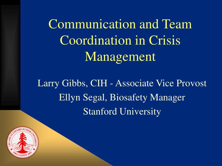 communication and team coordination in crisis management n.