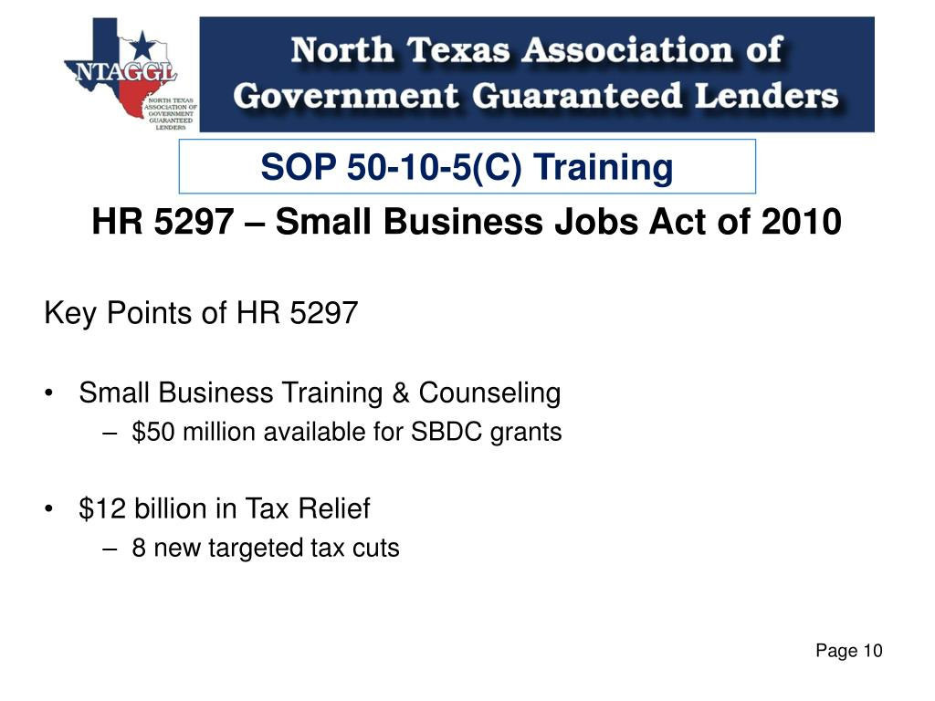 PPT - SOP 50-10-5(C) & Small Business Jobs Act of 2010
