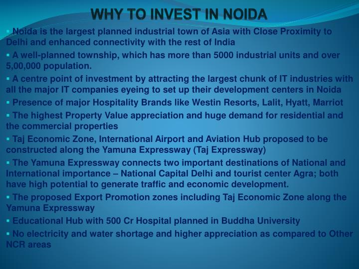 WHY TO INVEST IN NOIDA