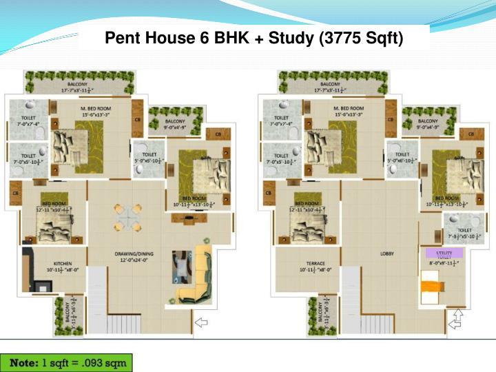 Pent House 6 BHK + Study (3775 Sqft)