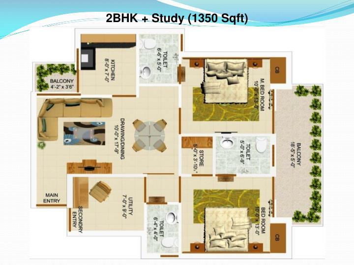 2BHK + Study (1350 Sqft)
