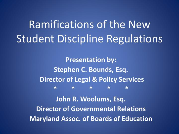 ramifications of the new student discipline regulations n.