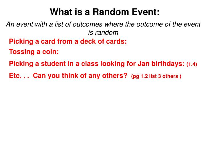 What is a random event