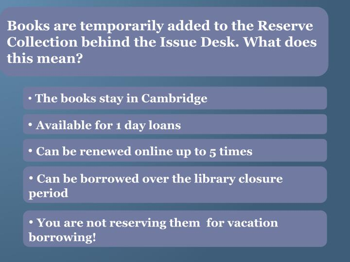 Books are temporarily added to the Reserve Collection behind the Issue Desk. What does this mean?
