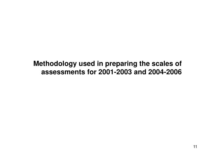 Methodology used in preparing the scales of assessments for 2001-2003 and 2004-2006