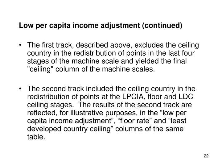 Low per capita income adjustment (continued)