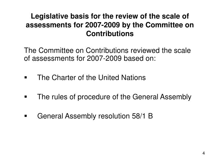 Legislative basis for the review of the scale of assessments for 2007-2009 by the Committee on Contributions