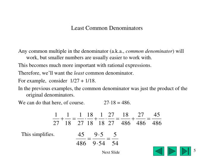Least Common Denominators