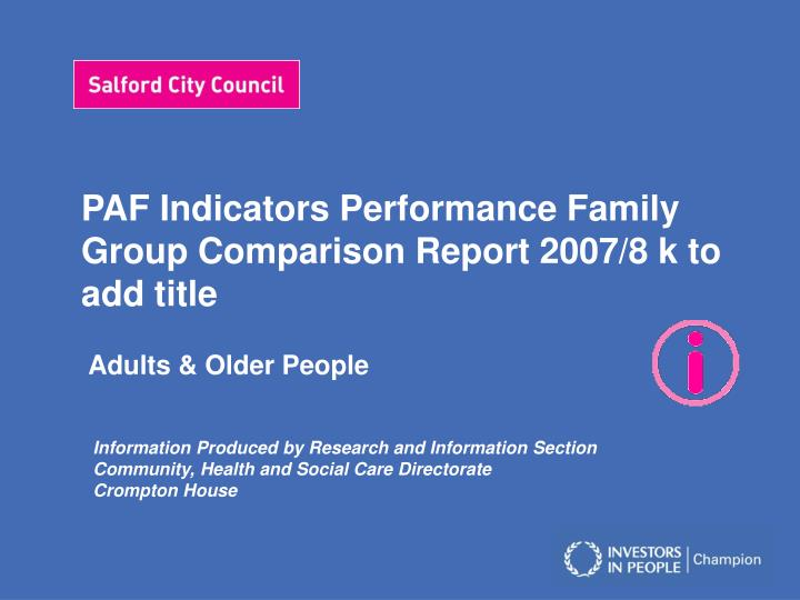 paf indicators performance family group comparison report 2007 8 k to add title n.