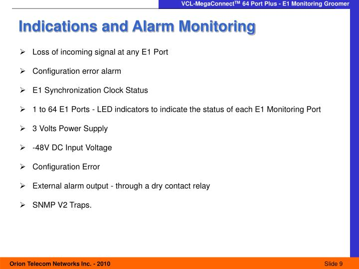 Indications and Alarm Monitoring