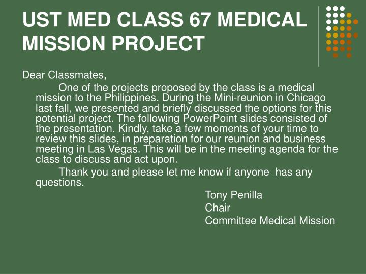 ust med class 67 medical mission project n.