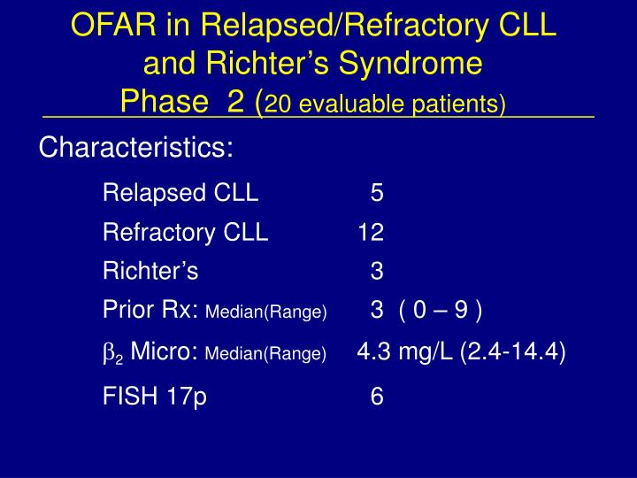 OFAR in Relapsed/Refractory CLL and Richter's Syndrome