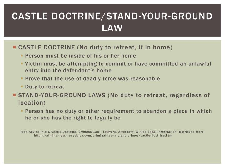 Castle doctrine/Stand-your-ground law
