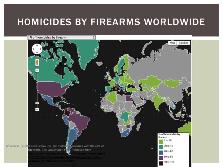 Homicides by firearms worldwide