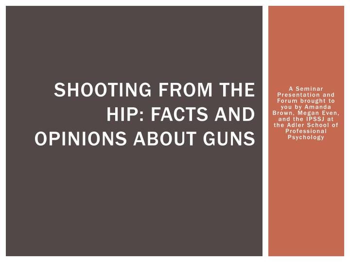 Shooting from the hip facts and opinions about guns