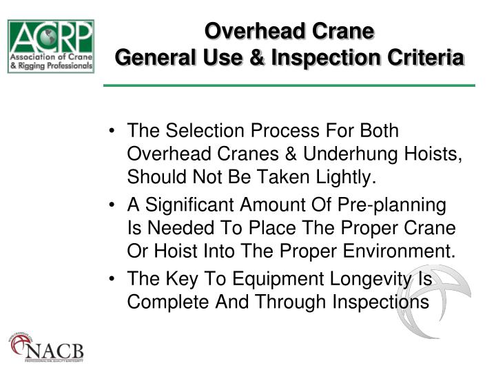 PPT - Overhead Crane General Use & Inspection Criteria PowerPoint