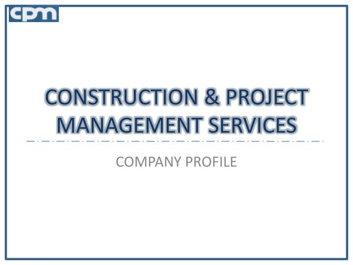 construction project management services n.