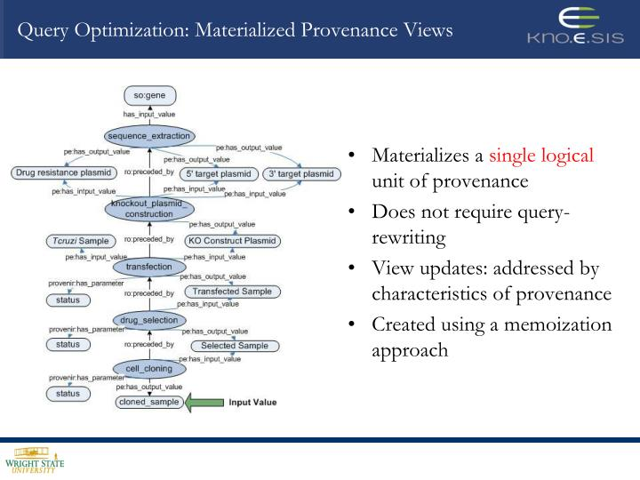 Query Optimization: Materialized Provenance Views