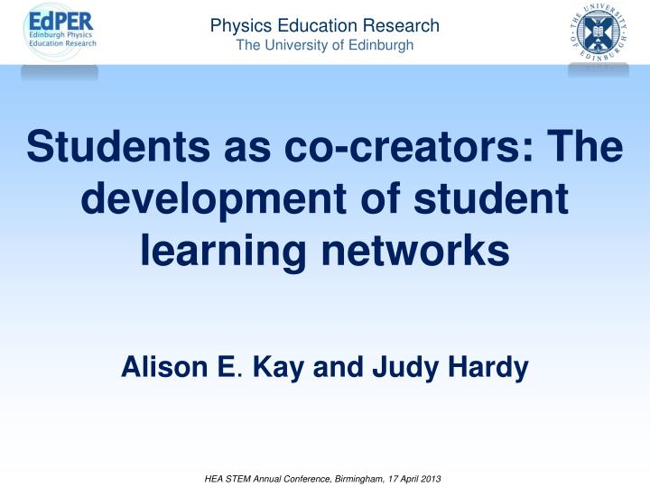 students as co creators the development of student learning networks n.