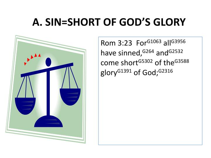 A. SIN=SHORT OF GOD'S GLORY